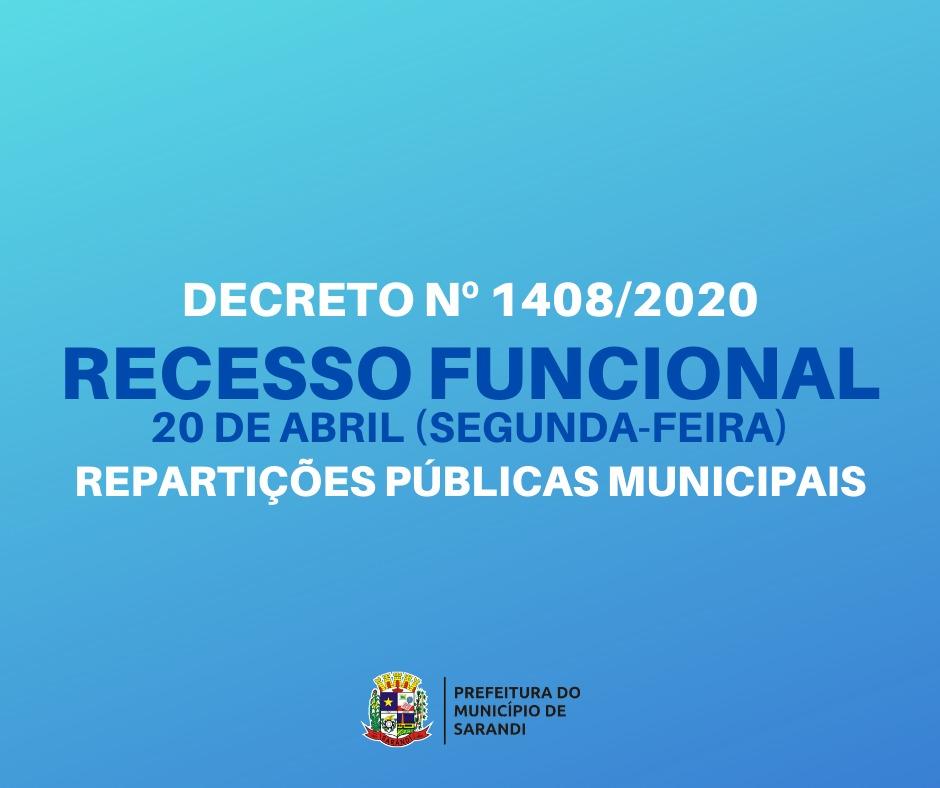Prefeitura realiza recesso na próxima segunda-feira (20)